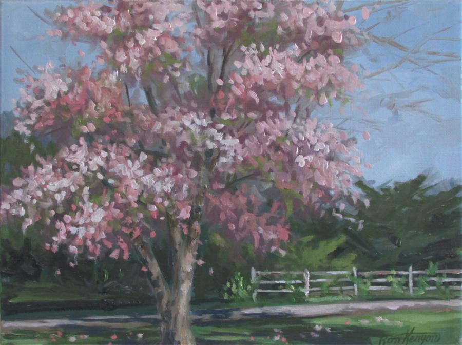Discover Original Art by Ron Kenyon | Cherry Fence oil painting | Art for Sale Online at UGallery