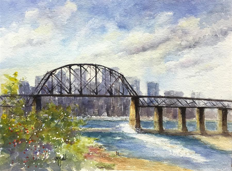 Original art for sale at UGallery.com | The Railroad Bridge by JUDY MUDD | $350 | Watercolor painting | 9' h x 12' w | http://www.ugallery.com/watercolor-painting-the-railroad-bridge