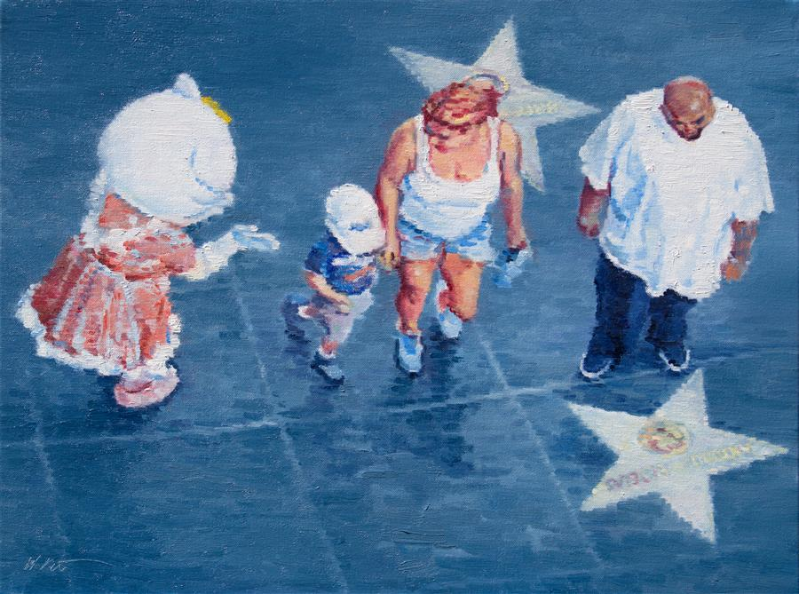 Original art for sale at UGallery.com | Hollywood Family with Hello Kitty on Walk of Fame between Banderas and Britney by WARREN KEATING | $1,575 | Oil painting | 18' h x 24' w | http://www.ugallery.com/oil-painting-hollywood-family-with-hello-kitty-on-walk-of-fame-between-banderas-and-britney