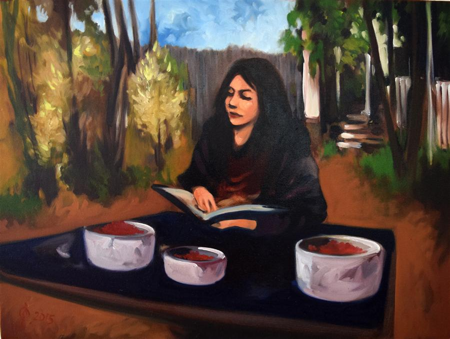 Original art for sale at UGallery.com | Girl Reading by OLEG OSIPOFF | $975 | Oil painting | 18' h x 24' w | http://www.ugallery.com/oil-painting-girl-reading