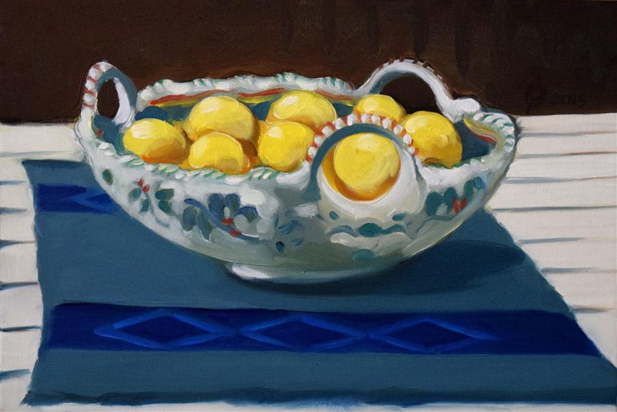 Original art for sale at UGallery.com | Spanish Tray with Lemons by OLEG OSIPOFF | $550 | Oil painting | 12' h x 18' w | http://www.ugallery.com/oil-painting-spanish-tray-with-lemons