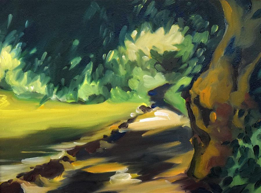Original art for sale at UGallery.com | Lower Lake Path by OLEG OSIPOFF | $350 | Oil painting | 12' h x 16' w | http://www.ugallery.com/oil-painting-lower-lake-path