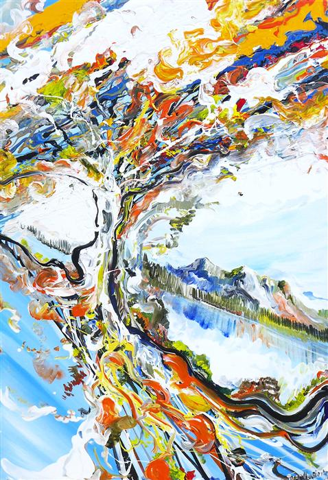 Original art for sale at UGallery.com | Tree Alive by PIERO MANRIQUE | $1,050 | Acrylic painting | 36' h x 24' w | http://www.ugallery.com/acrylic-painting-tree-alive