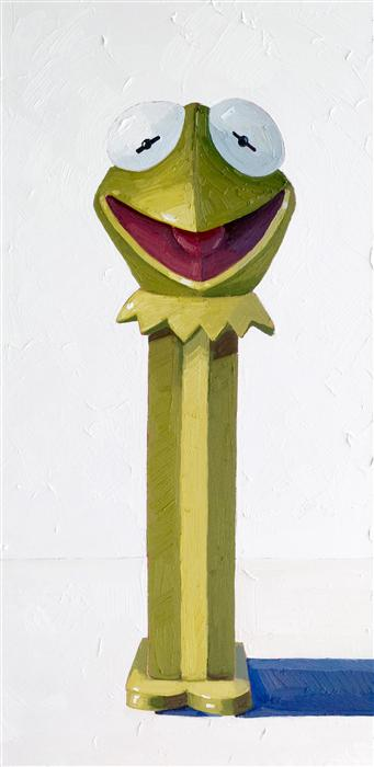 Original art for sale at UGallery.com | Kermit the Frog Pez by NICOLE NEWSTED | $1,300 | Oil painting | 30' h x 15' w | http://www.ugallery.com/oil-painting-kermit-the-frog-pez