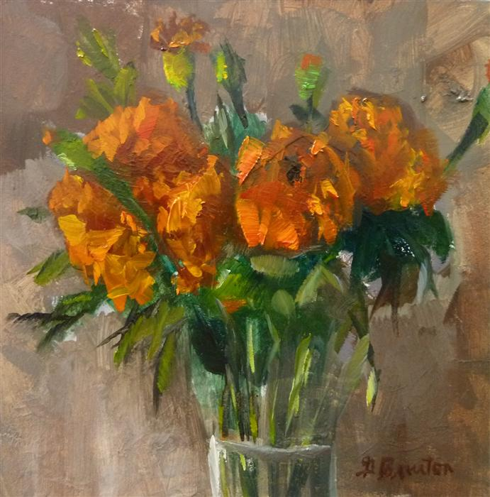 Discover Original Art by Gary Bruton | Marigolds oil painting | Art for Sale Online at UGallery