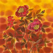 Flora art,Representational art,Vintage art,mixed media artwork,Red Bird