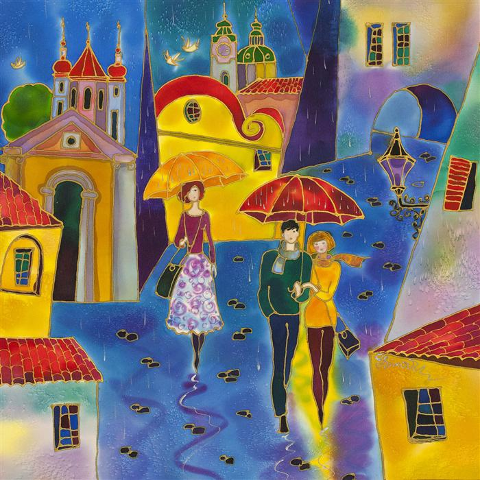 Discover Original Art by Yelena Sidorova | Rainy Day Prague mixed media artwork | Art for Sale Online at UGallery