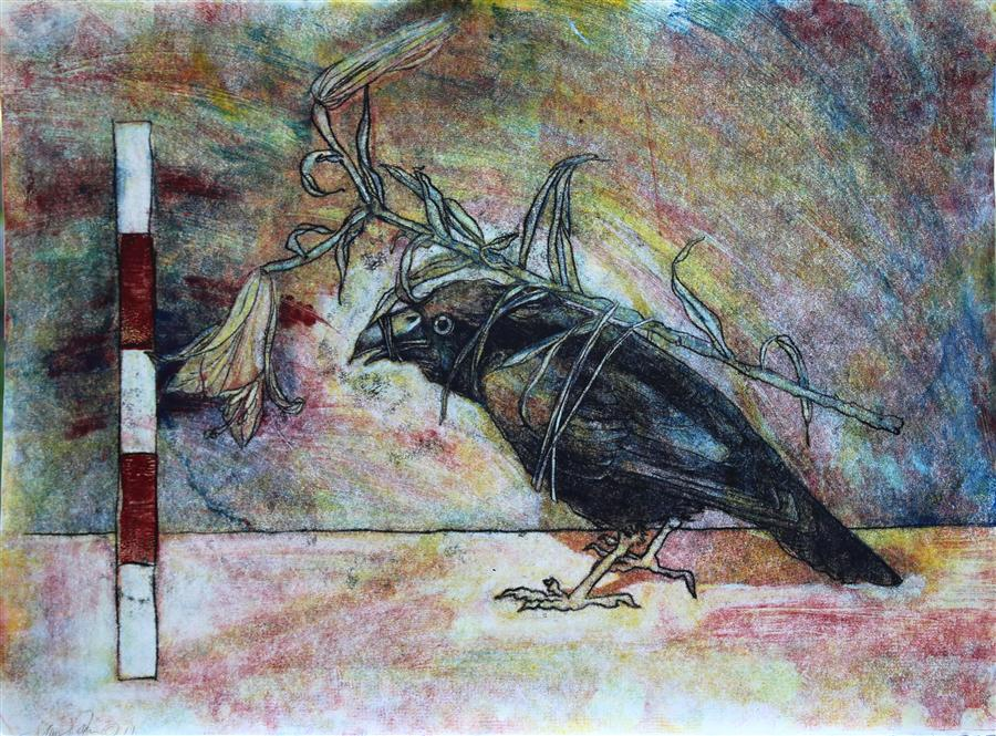 Original art for sale at UGallery.com | Masquerade (Crow with Flower) by JAMES REES | $1,050 | Printmaking | 22' h x 29.7' w | http://www.ugallery.com/printmaking-masquerade-crow-with-flower