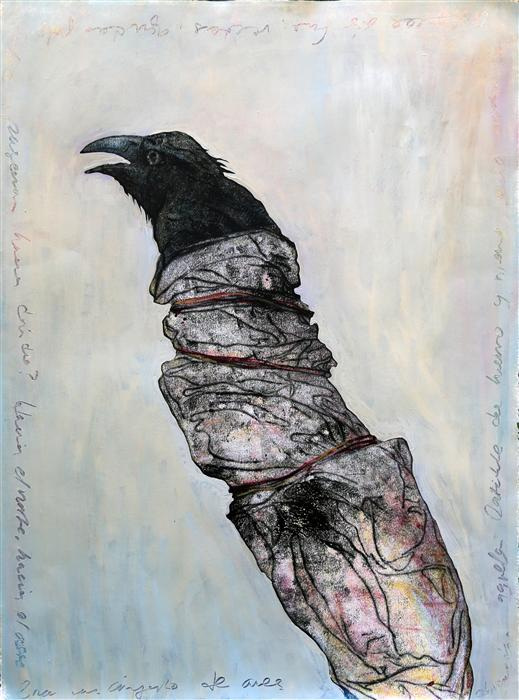 Original art for sale at UGallery.com | Wrapped Raven by JAMES REES | $1,050 | Printmaking | 30' h x 22.2' w | http://www.ugallery.com/printmaking-wrapped-raven
