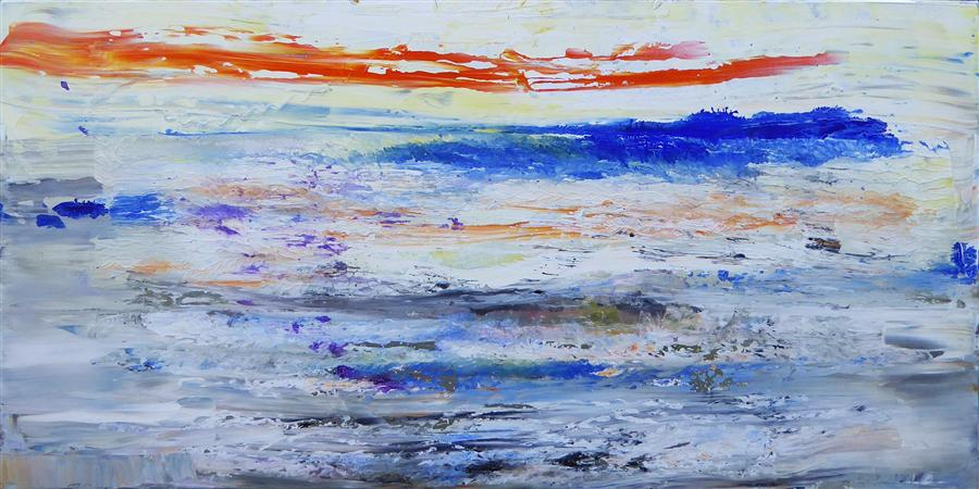 Discover Original Art by Gloria Blatt | Impression Sunset acrylic painting | Art for Sale Online at UGallery