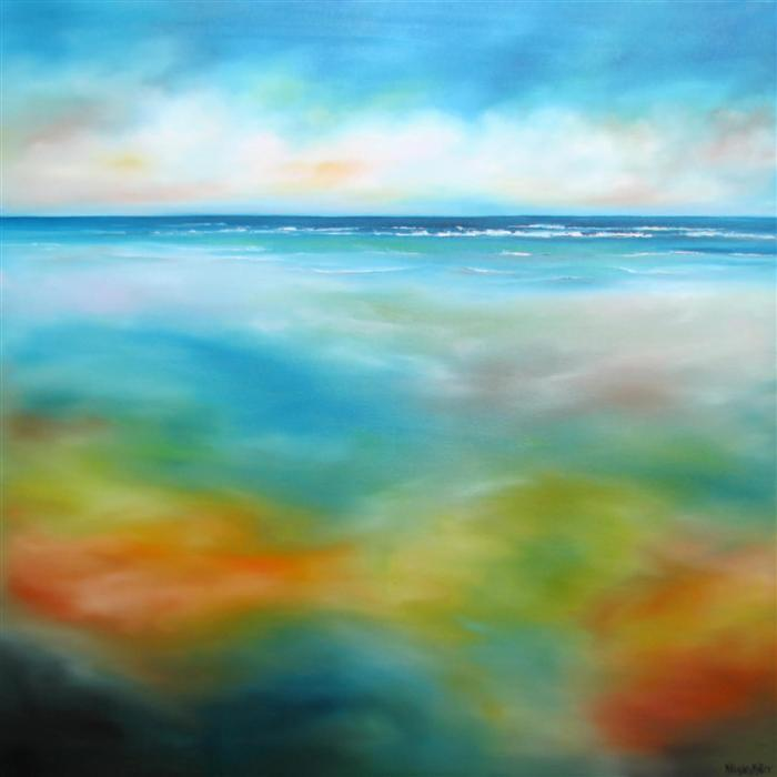 Original art for sale at UGallery.com | Beach Colors III by NANCY HUGHES MILLER | $1,675 | Oil painting | 36' h x 36' w | http://www.ugallery.com/oil-painting-beach-colors-iii