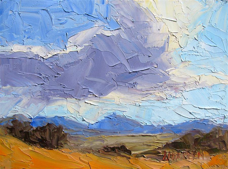 Original art for sale at UGallery.com | Sonoita Cloudscape by ROGER ALDERMAN | $300 | Oil painting | 6' h x 8' w | http://www.ugallery.com/oil-painting-sonoita-cloudscape