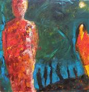 Expressionism art,People art,Representational art,acrylic painting,Reluctant Traveler