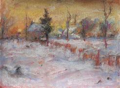 Impressionism art,Landscape art,Representational art,pastel artwork,Snowy Field at Evening