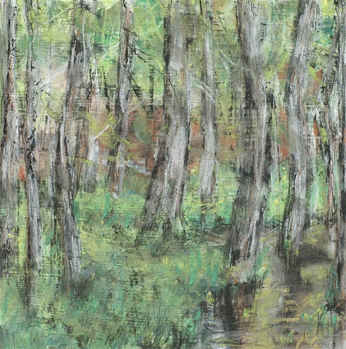 Original art for sale at UGallery.com | Birch by Stream Edge by SARAH BETH GONCAROVA | $350 | Mixed media artwork | 7' h x 7' w | http://www.ugallery.com/mixed-media-artwork-birch-by-stream-edge