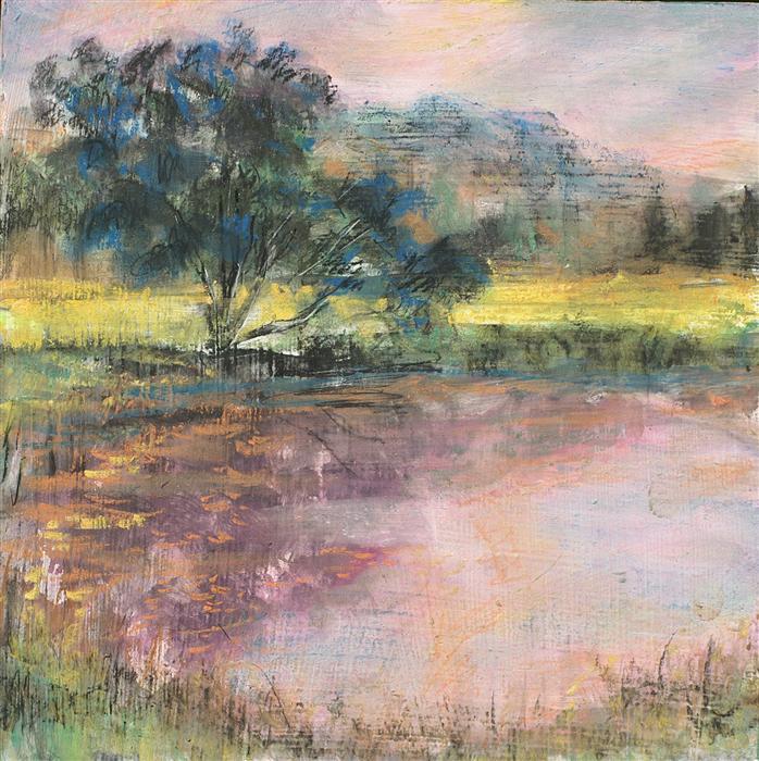 Discover Original Art by Sarah Beth Goncarova | Evening Light Over Pond mixed media artwork | Art for Sale Online at UGallery