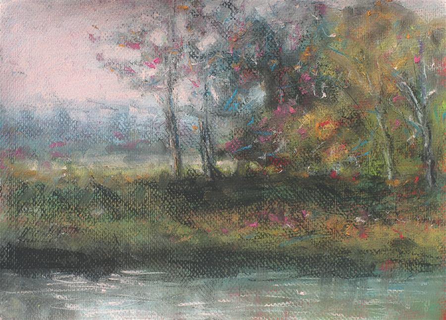 Original art for sale at UGallery.com | Stand of Trees by SARAH BETH GONCAROVA | $400 | Pastel artwork | 11' h x 15' w | http://www.ugallery.com/pastel-artwork-stand-of-trees