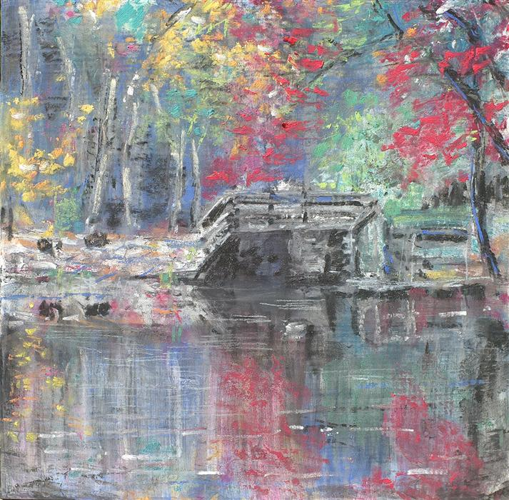 Discover Original Art by Sarah Beth Goncarova | The Old Wooden Bridge mixed media artwork | Art for Sale Online at UGallery