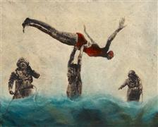 People art,Seascape art,Representational art,Vintage art,mixed media artwork,Whirl Divers