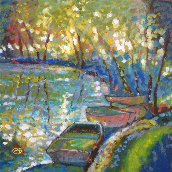 Original art for sale at UGallery.com | Summer Boats by KIP DECKER | $1,500 | Acrylic painting | 30' h x 30' w | http://www.ugallery.com/acrylic-painting-summer-boats