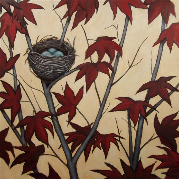 Original art for sale at UGallery.com | Meditation on a Nest by JENNIFER ROSS | $2,175 | Oil painting | 36' h x 36' w | http://www.ugallery.com/oil-painting-meditation-on-a-nest