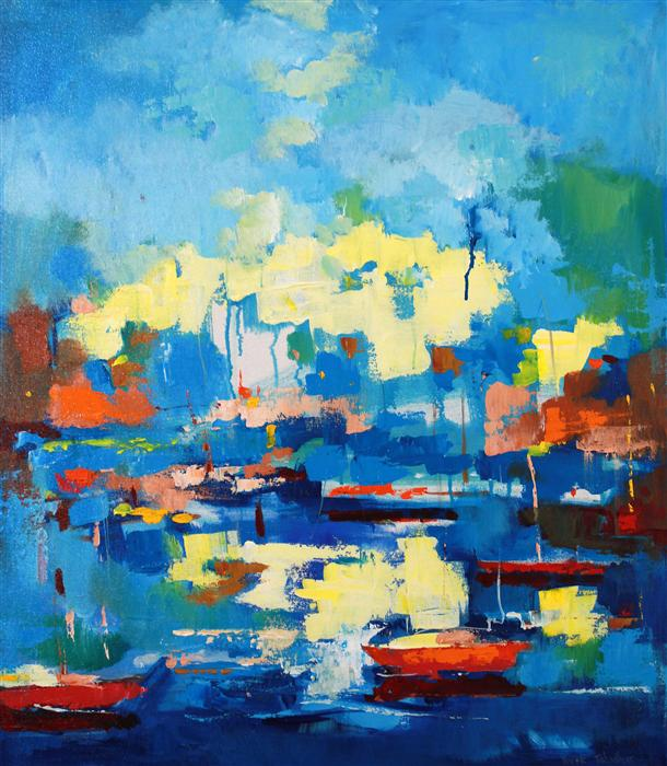 Original art for sale at UGallery.com | Boats in Berkeley Marina by YUVAK TULADHAR | $1,650 | Acrylic painting | 32' h x 28' w | http://www.ugallery.com/acrylic-painting-boats-in-berkeley-marina