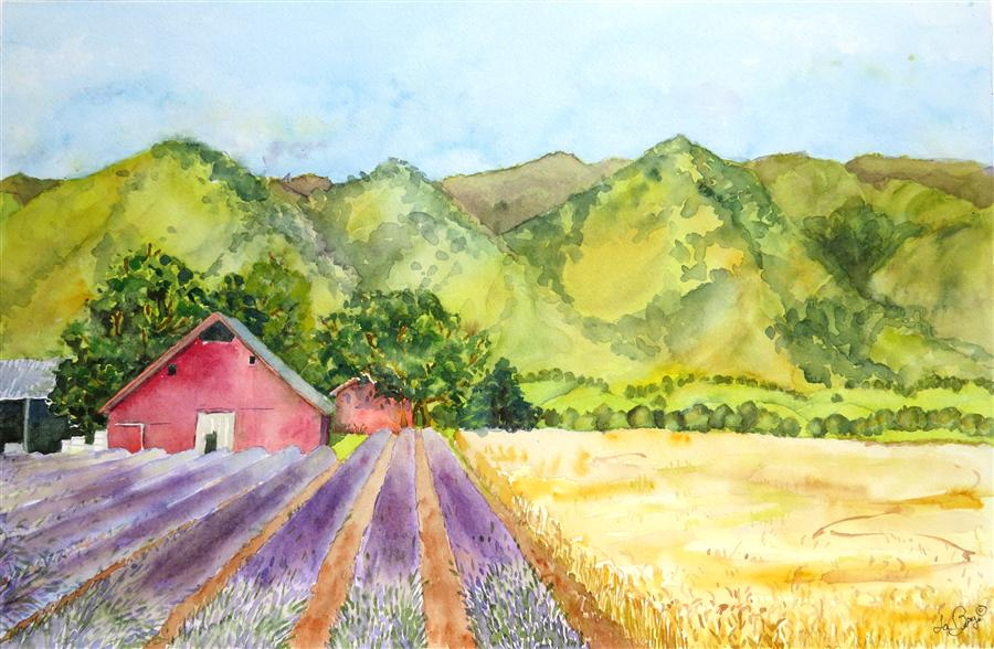 Original art for sale at UGallery.com | Country Drive by NANCY MUREN | $675 | Watercolor painting | 14' h x 22' w | http://www.ugallery.com/watercolor-painting-country-drive