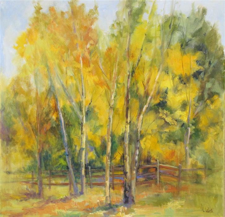 Original art for sale at UGallery.com | Aspen Waltz by ANITA L. WEST | $1,550 | Oil painting | 30' h x 30' w | http://www.ugallery.com/oil-painting-aspen-waltz