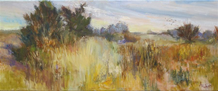 Original art for sale at UGallery.com | Dancing Fields by ANITA L. WEST | $1,050 | Oil painting | 12' h x 36' w | http://www.ugallery.com/oil-painting-dancing-fields
