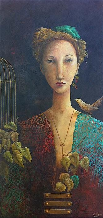 Original art for sale at UGallery.com | She with Key by KRISTY GOGGIO | $2,925 | Oil painting | 36' h x 18' w | http://www.ugallery.com/oil-painting-she-with-key