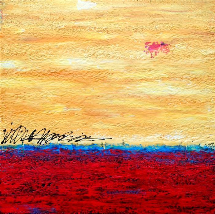 Original art for sale at UGallery.com | Red Desert Moon by ROBIN JORGENSEN | $850 | Mixed media artwork | 24' h x 24' w | http://www.ugallery.com/mixed-media-artwork-red-desert-moon