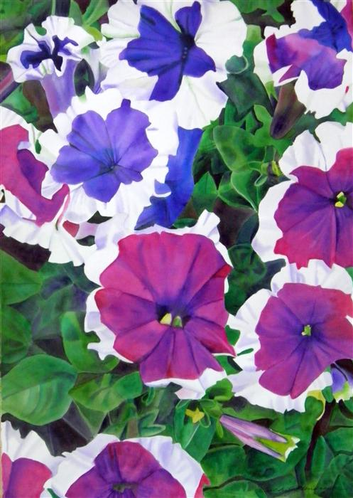 Original art for sale at UGallery.com | Petunia by CATHE HENDRICK | $1,450 | Watercolor painting | 40' h x 30' w | http://www.ugallery.com/watercolor-painting-petunia