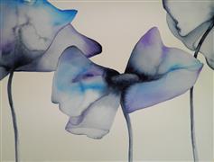 Minimalism art,Representational art,watercolor painting,Blue Poppy 1