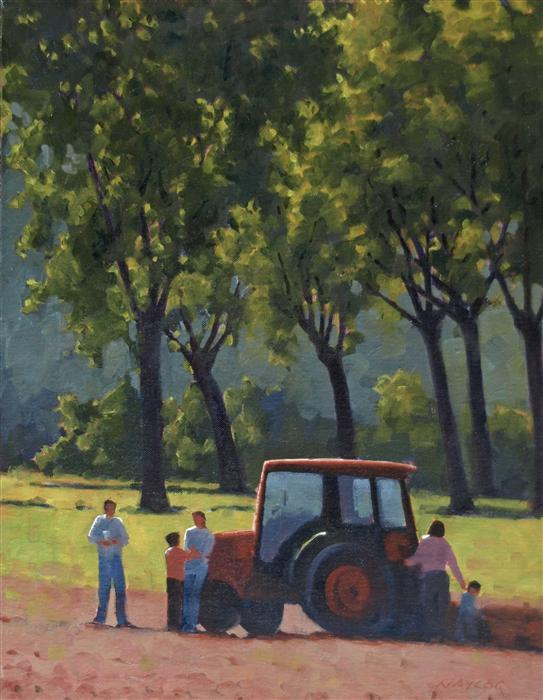 Original art for sale at UGallery.com | The New Tractor by RODGERS NAYLOR | $975 | Oil painting | 18' h x 14' w | http://www.ugallery.com/oil-painting-the-new-tractor