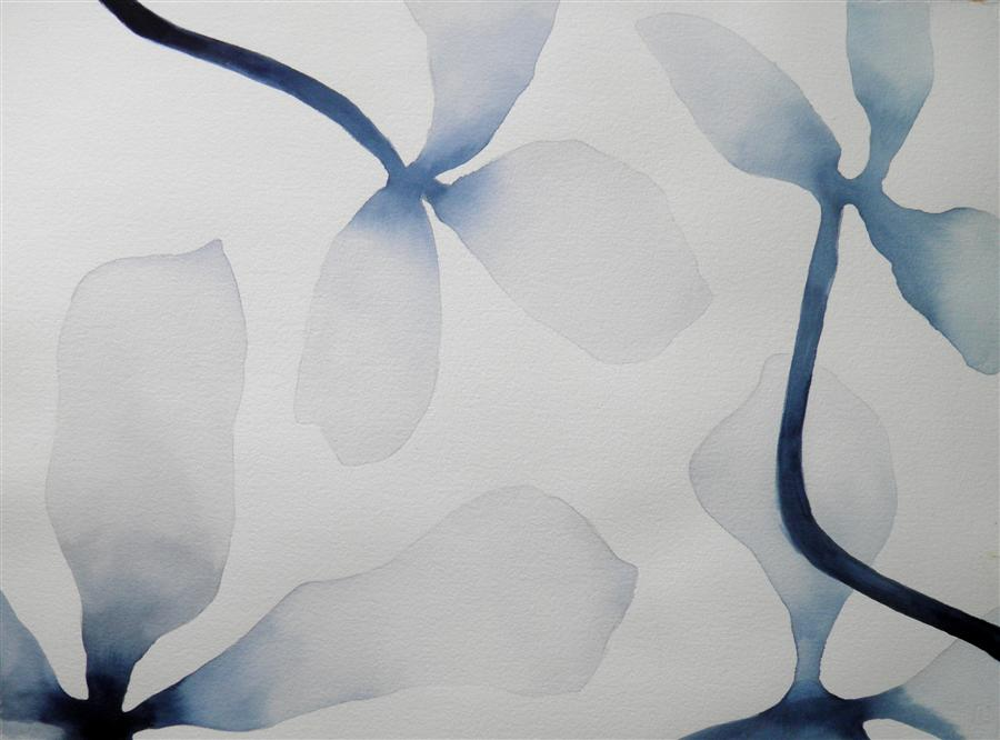 Original art for sale at UGallery.com | Indigo Blossums 1 by CATHE HENDRICK | $700 | Watercolor painting | 22' h x 30' w | http://www.ugallery.com/watercolor-painting-indigo-blossums-1