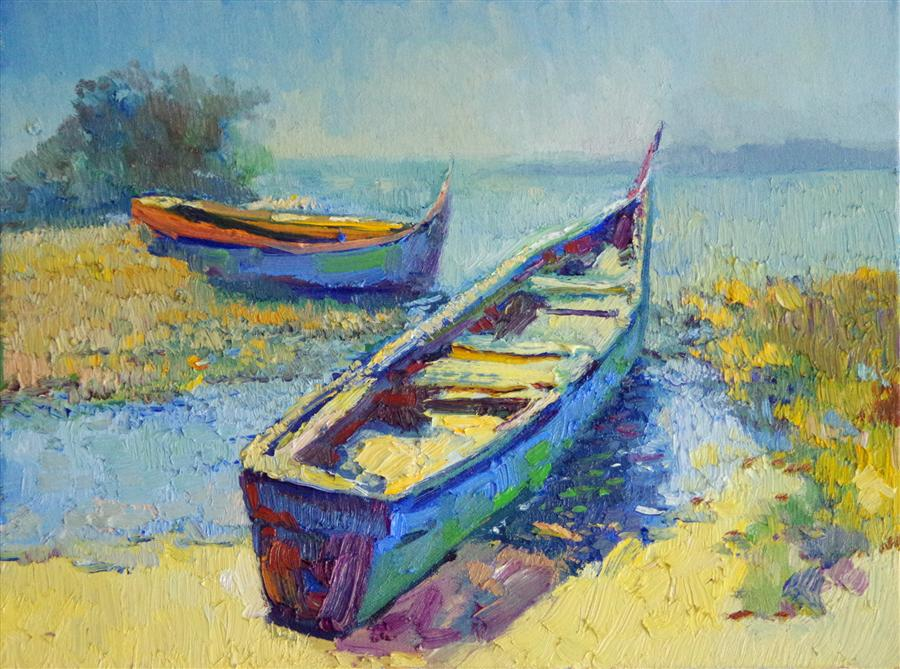 Discover Original Art by Suren Nersisyan | Two Boats, Summer oil painting | Art for Sale Online at UGallery