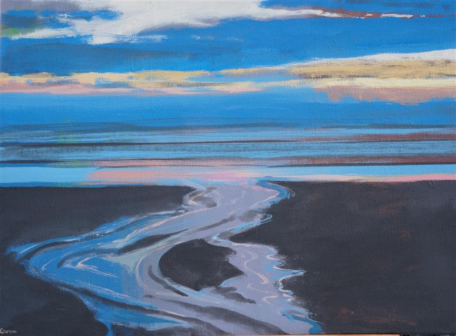 Original art for sale at UGallery.com | Beach Evening by SIDONIE CARON | $1,325 | Acrylic painting | 24' h x 32' w | http://www.ugallery.com/acrylic-painting-beach-evening
