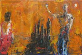 Expressionism art,People art,Representational art,acrylic painting,Triumphant Departure