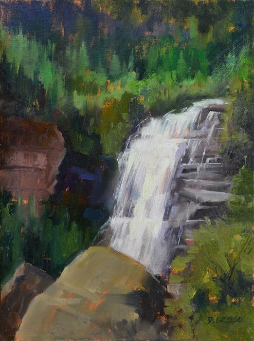 Discover Original Art by Danny Griego | Bear Creek Falls oil painting | Art for Sale Online at UGallery
