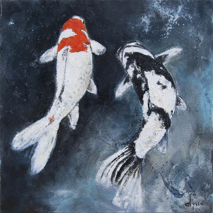 Discover Original Art by Anne Dosso-Powell | Two Koi in Love oil painting | Art for Sale Online at UGallery