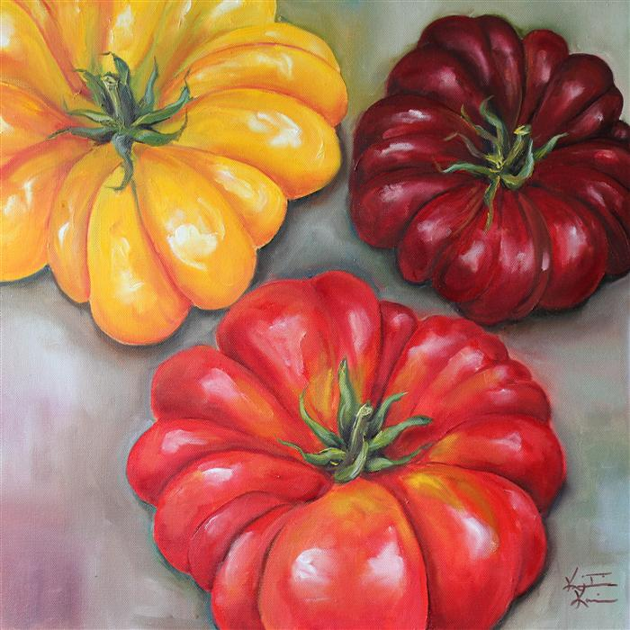 Original art for sale at UGallery.com | Heirloom Tomatoes by KRISTINE KAINER | $1,075 | Oil painting | 20' h x 20' w | http://www.ugallery.com/oil-painting-heirloom-tomatoes