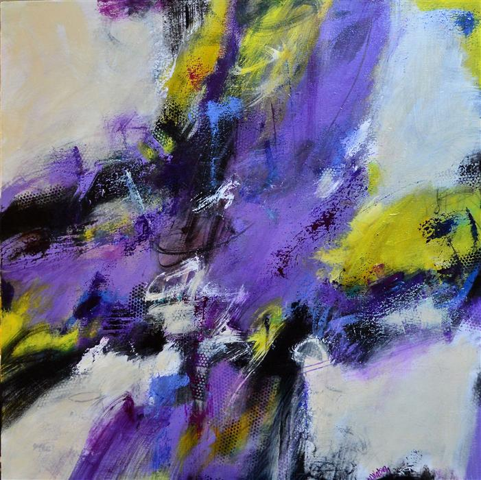 Original art for sale at UGallery.com | Amethyst and Citron by DL WATSON | $3,075 | Acrylic painting | 36' h x 36' w | http://www.ugallery.com/acrylic-painting-amethyst-and-citron