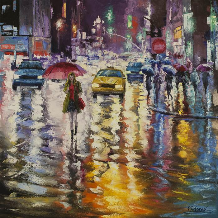 Discover Original Art by Stanislav Sidorov | City Lights Reflection oil painting | Art for Sale Online at UGallery