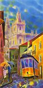 Architecture art,Fantasy art,Travel art,Representational art,mixed media artwork,Sun after the Rain. Street in Lisbon, Portugal.