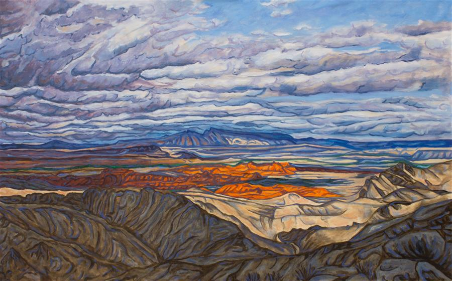 Original art for sale at UGallery.com | Storm Over the Valley of Fire by CRYSTAL DIPIETRO | $3,650 | Oil painting | 30' h x 48' w | http://www.ugallery.com/oil-painting-storm-over-the-valley-of-fire