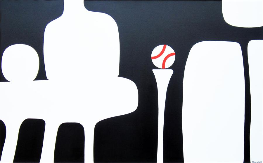 Original art for sale at UGallery.com | Living Large: Still Life With Baseball by LIZ MAMORSKY | $2,775 | Acrylic painting | 31' h x 49' w | http://www.ugallery.com/acrylic-painting-living-large-still-life-with-baseball