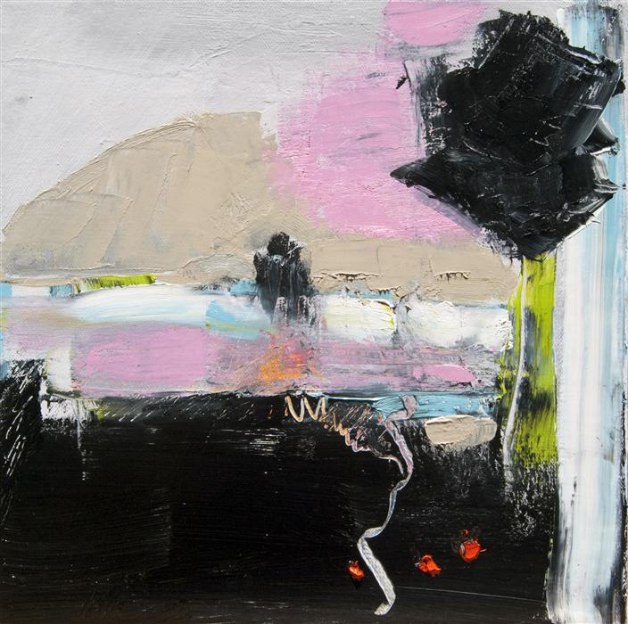 Discover Original Art by Anne Dosso-Powell | Landscape in Pink and Black oil painting | Art for Sale Online at UGallery
