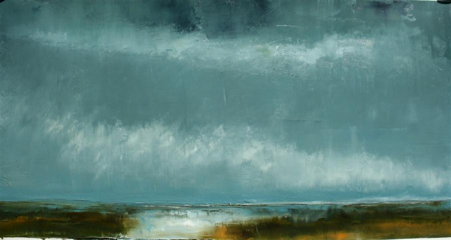Original art for sale at UGallery.com | Melancholy on Robinson by RONDA WAIKSNIS | $900 | Oil painting | 26' h x 48' w | http://www.ugallery.com/oil-painting-melancholy-on-robinson