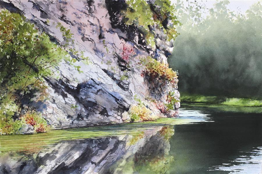 Original art for sale at UGallery.com | Still Waters by JILL E. POYERD | $1,500 | Watercolor painting | 15' h x 22' w | http://www.ugallery.com/watercolor-painting-still-waters