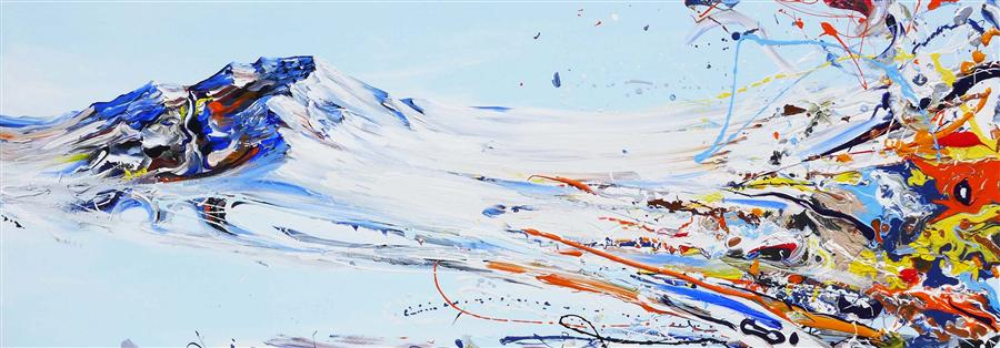 Original art for sale at UGallery.com | Mountain Love by PIERO MANRIQUE | $2,675 | Acrylic painting | 20' h x 60' w | http://www.ugallery.com/acrylic-painting-mountain-love